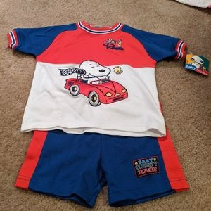 Baby Snoopy racing outfit. NWT. 24 mos